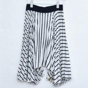Zara Asymmetrical Pleated Stripe Skirt